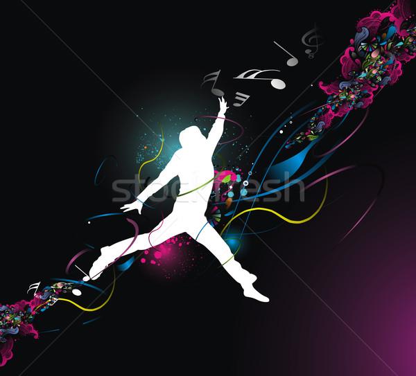 Heureux hommes silhouette sautant couleur plein Photo stock © redshinestudio