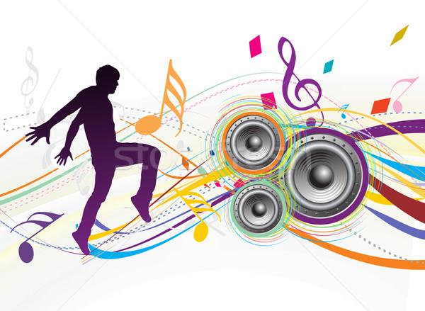 Сток-фото: музыку · молодым · человеком · наслаждаться · Swirl · волна · нет