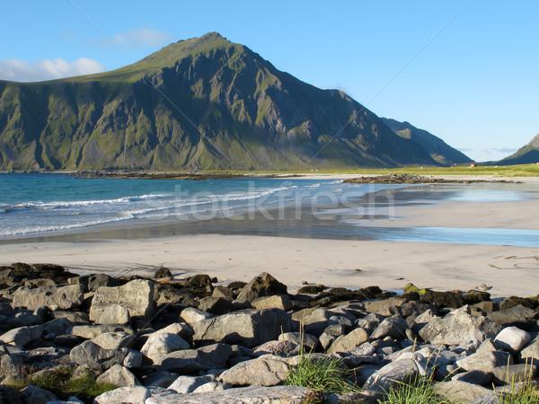 Норвегия пляж живописный пейзаж природы горные Сток-фото © remik44992