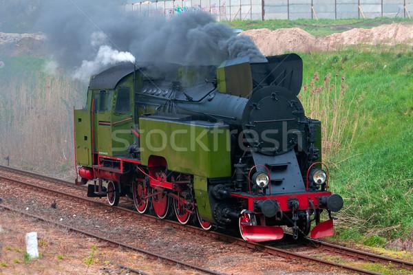 Oude stoomlocomotief retro Polen rook Stockfoto © remik44992
