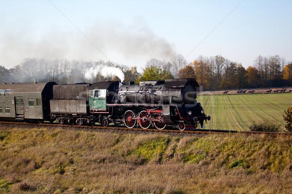 Сток-фото: ретро · пар · поезд · старые · лошади · Vintage