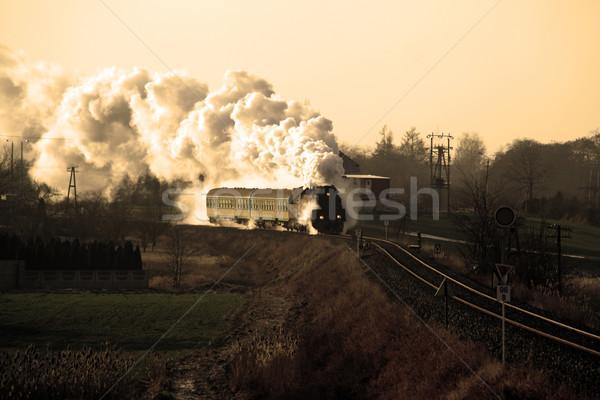 Stock photo: Old retro steam train