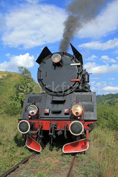 Retro stoom trein oude zwarte kleur Stockfoto © remik44992