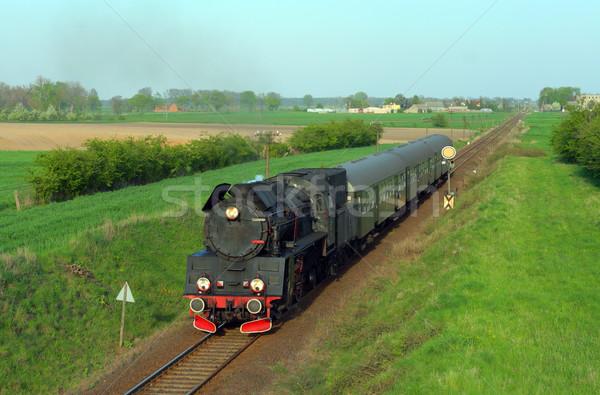Oude retro stoom trein voorjaar rook Stockfoto © remik44992