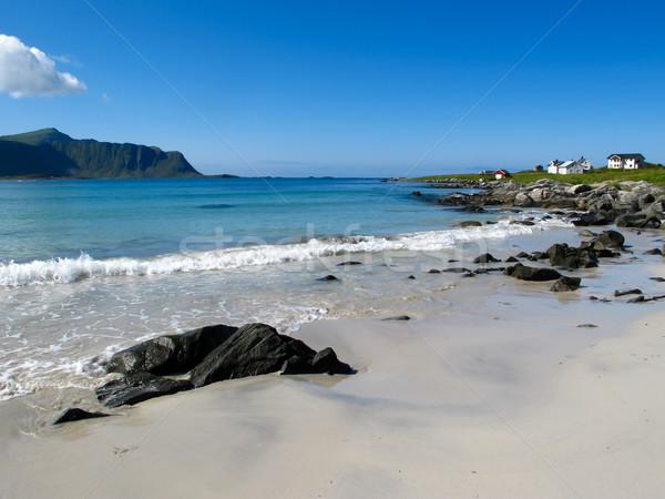 Noruega praia pitoresco paisagem natureza montanha Foto stock © remik44992