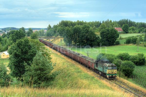 Diesel trein locomotief landschap levering fotografie Stockfoto © remik44992