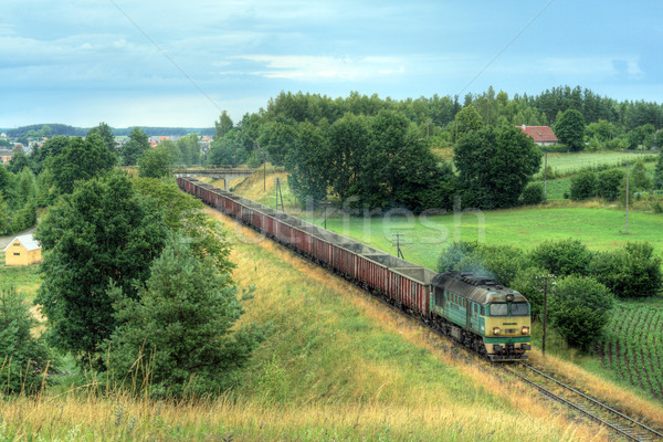 Diesel trem locomotiva paisagem entrega fotografia Foto stock © remik44992
