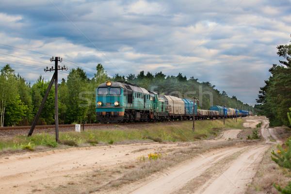 Diesel trem locomotiva natureza paisagem caixa Foto stock © remik44992