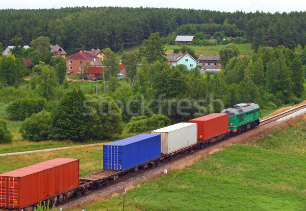 Landscape with the train and a village Stock photo © remik44992