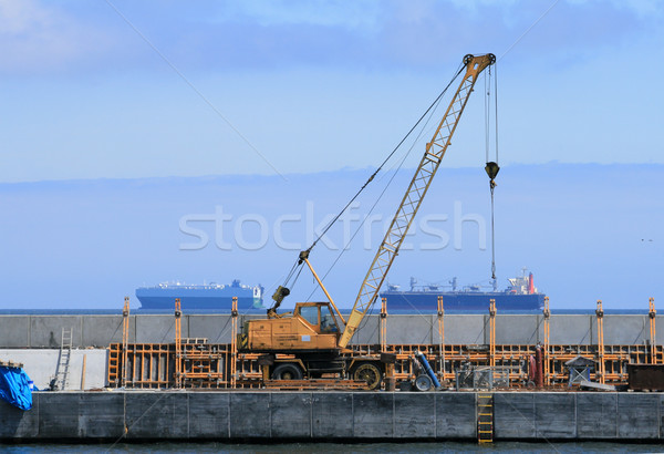 Crane, quay and ships in background Stock photo © remik44992