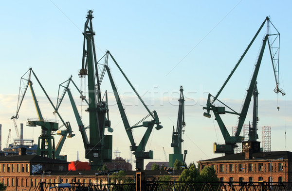 Cranes at historical shipyard in gdansk, poland Stock photo © remik44992