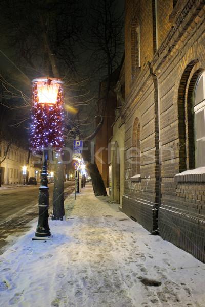 старый город Польша улице ночь снега городского Сток-фото © remik44992