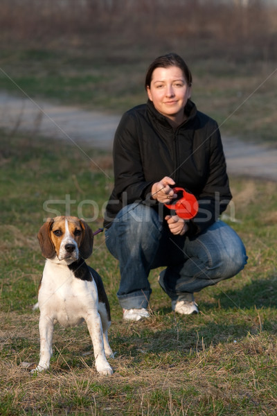 Girl with a dog Stock photo © remik44992