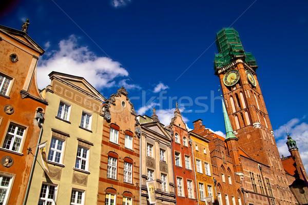 Foto d'archivio: Città · vecchia · danzica · Polonia · edifici · centro · cielo