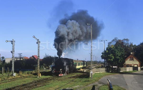 ストックフォト: 古い · レトロな · 蒸気 · 列車 · 小 · 駅