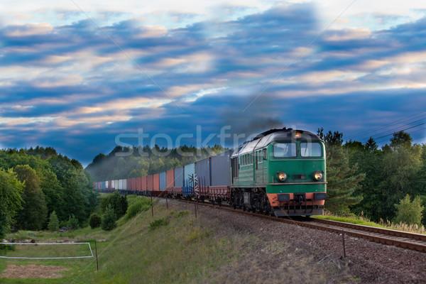 Diesel train locomotive nature paysage boîte Photo stock © remik44992