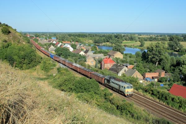 пейзаж поезд деревне реке лет моста Сток-фото © remik44992