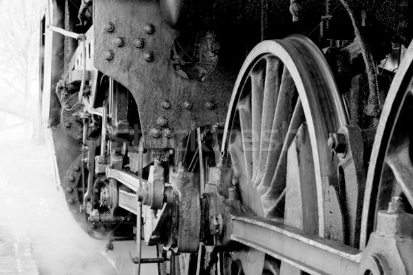 Wielen oude stoomlocomotief schorsing stoom Stockfoto © remik44992