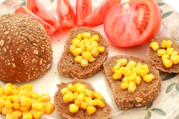 Saine déjeuner rouler maïs tomate Photo stock © remik44992