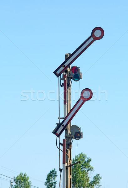 Vieux chemin de fer mécanique été bleu rouge Photo stock © remik44992