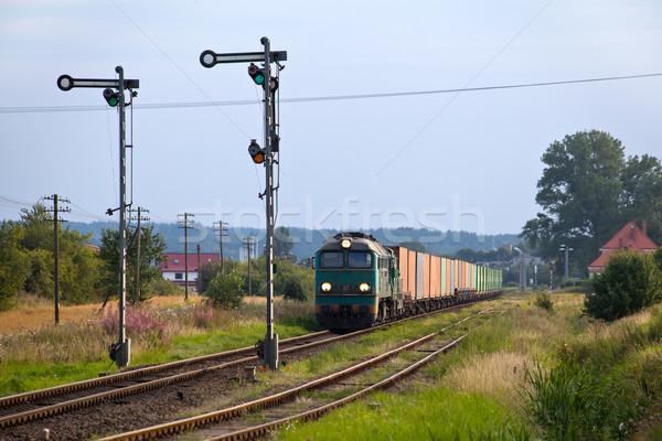 Diesel trein container track fotografie landschap Stockfoto © remik44992