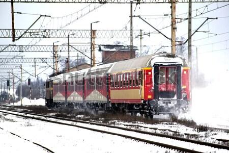 поезд линия автомобилей снега зима транспорт Сток-фото © remik44992