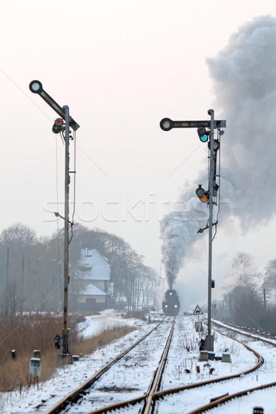 Сток-фото: старые · ретро · пар · поезд · станция · дым