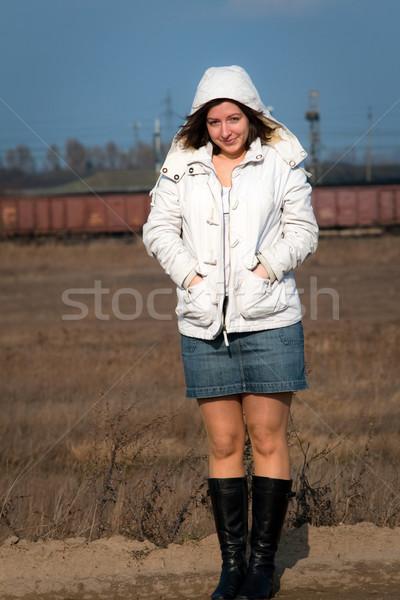 Kadın ceket beyaz kot mini etek Stok fotoğraf © remik44992