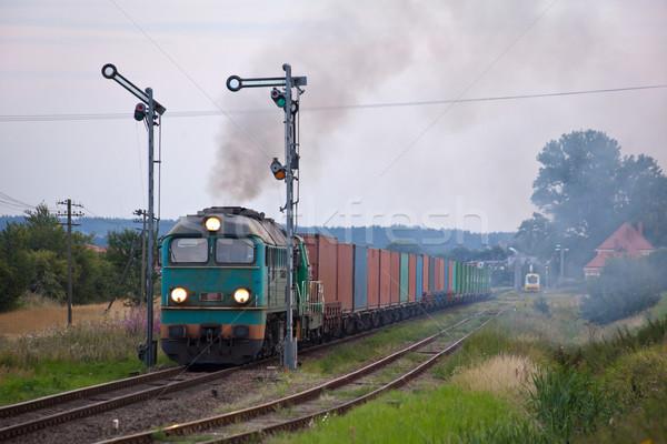 Diesel tren contenedor tema fotografía paisaje Foto stock © remik44992