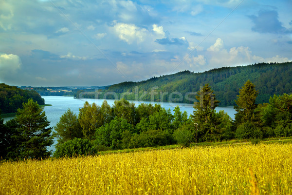 Hilly landscape with lake Stock photo © remik44992