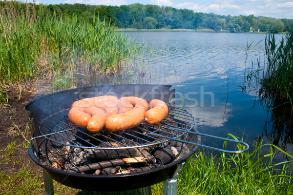 Grillen Sommer Wochenende frischen Wurst Grill Stock foto © remik44992