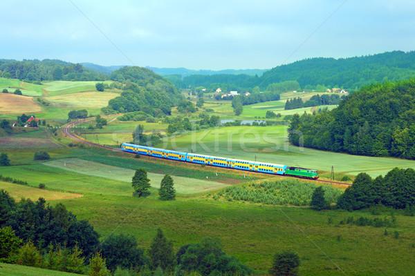 Paysage chemin de fer ligne train lac forêt Photo stock © remik44992