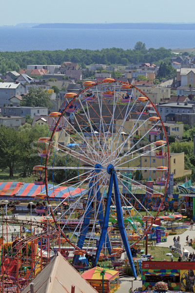 Aerial view of the amusement park and sea Stock photo © remik44992