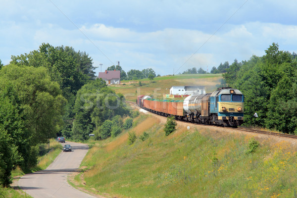 Summer landscape with the freight train Stock photo © remik44992