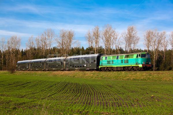 Train campagne diesel locomotive ensoleillée paysage Photo stock © remik44992