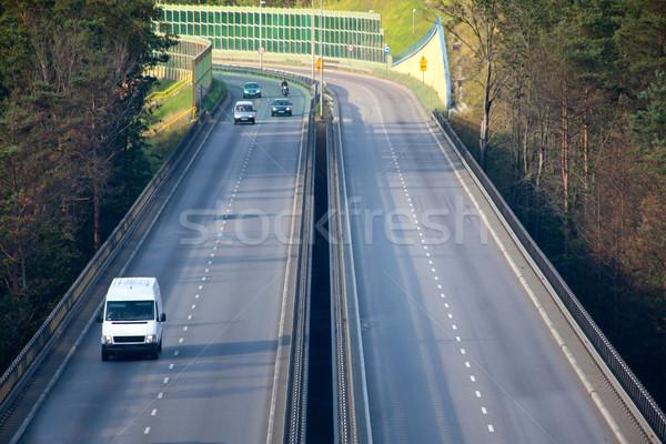Snelweg luchtfoto spitsuur verkeer weg reizen Stockfoto © remik44992