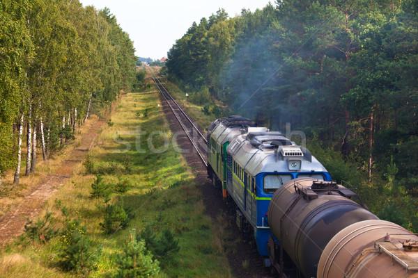 Diesel trein bos tank fotografie landschap Stockfoto © remik44992