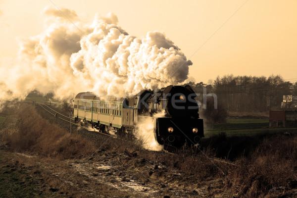 ストックフォト: 古い · レトロな · 蒸気 · 列車 · ヴィンテージ