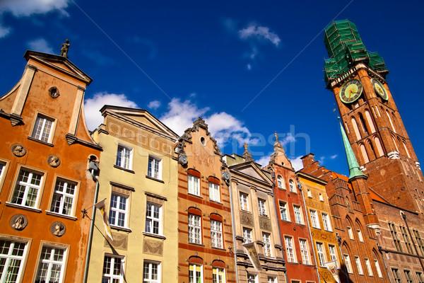Cidade velha gdansk Polônia edifícios centro céu Foto stock © remik44992