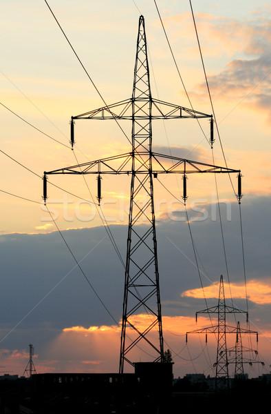 Hat gökyüzü yaz kablo siluet Stok fotoğraf © remik44992