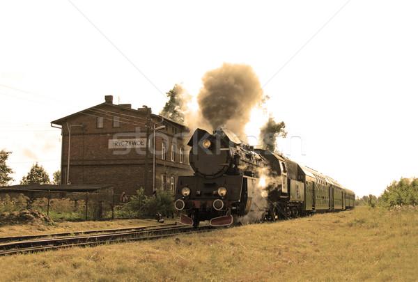 Foto stock: Vapor · estação · de · trem · velho · retro · trem · pequeno