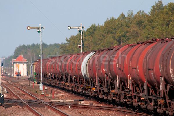 Brandstof trein station bos zomer industrie Stockfoto © remik44992