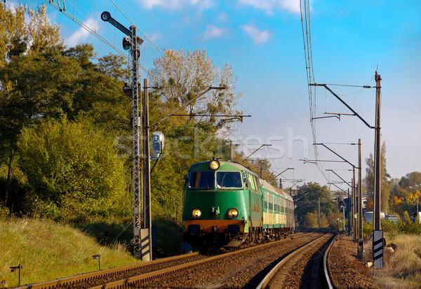 Trein najaar landschap motor fotografie reis Stockfoto © remik44992