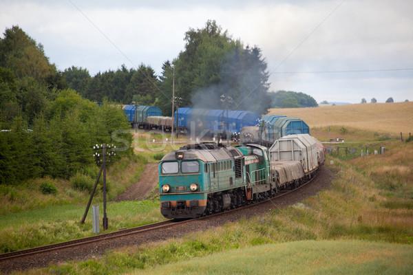 Dizel tren lokomotif doğa manzara renk Stok fotoğraf © remik44992