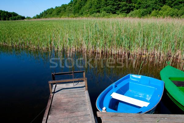 Scène meer twee boten houten Stockfoto © remik44992