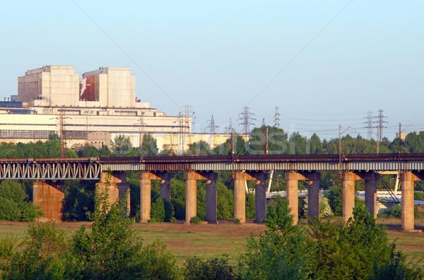 Industrielle paysages chemin de fer centrale haute tension lignes Photo stock © remik44992