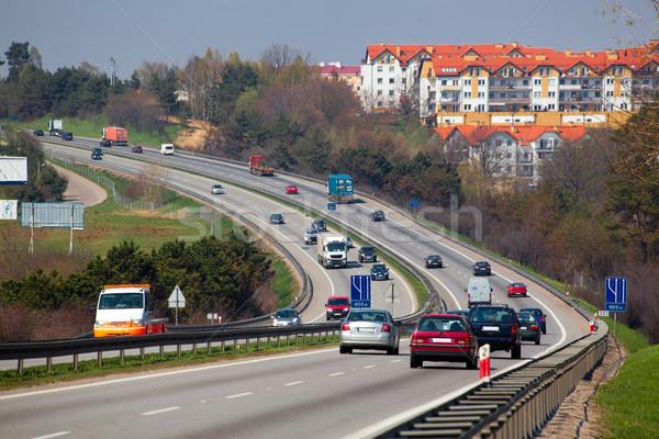 Stockfoto: Snelweg · luchtfoto · spitsuur · verkeer · weg · stad