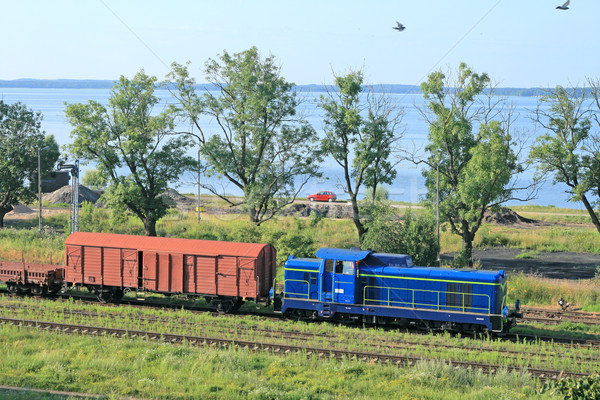 Landscape with the train and a lake Stock photo © remik44992