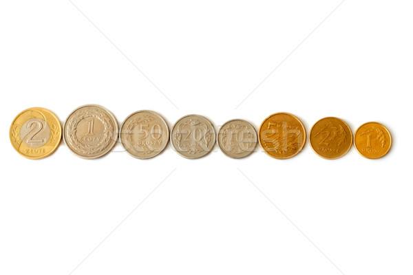 Pièces rangée isolé blanche argent Finance Photo stock © remik44992