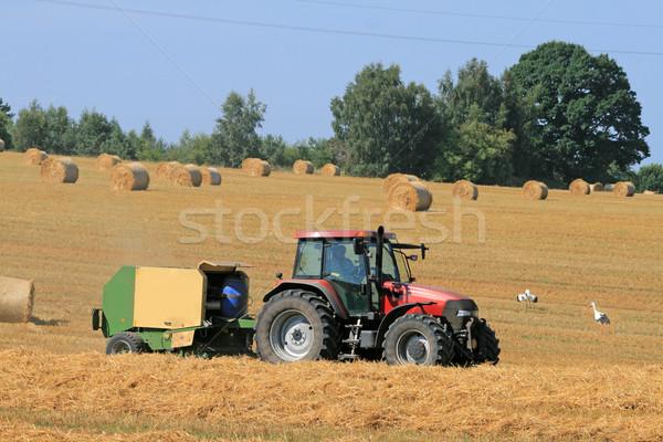 Zomer landschap trekker stro veld boerderij Stockfoto © remik44992